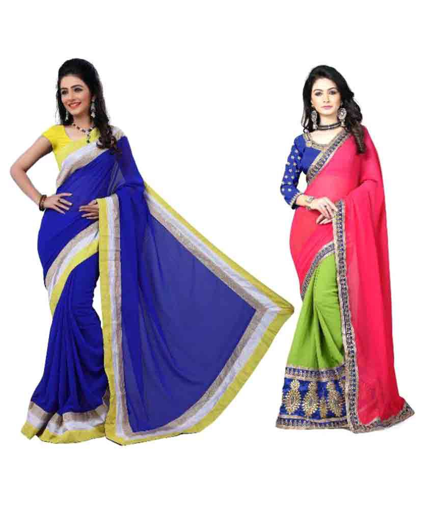 K P Cotex Multicoloured Chiffon Saree Combos