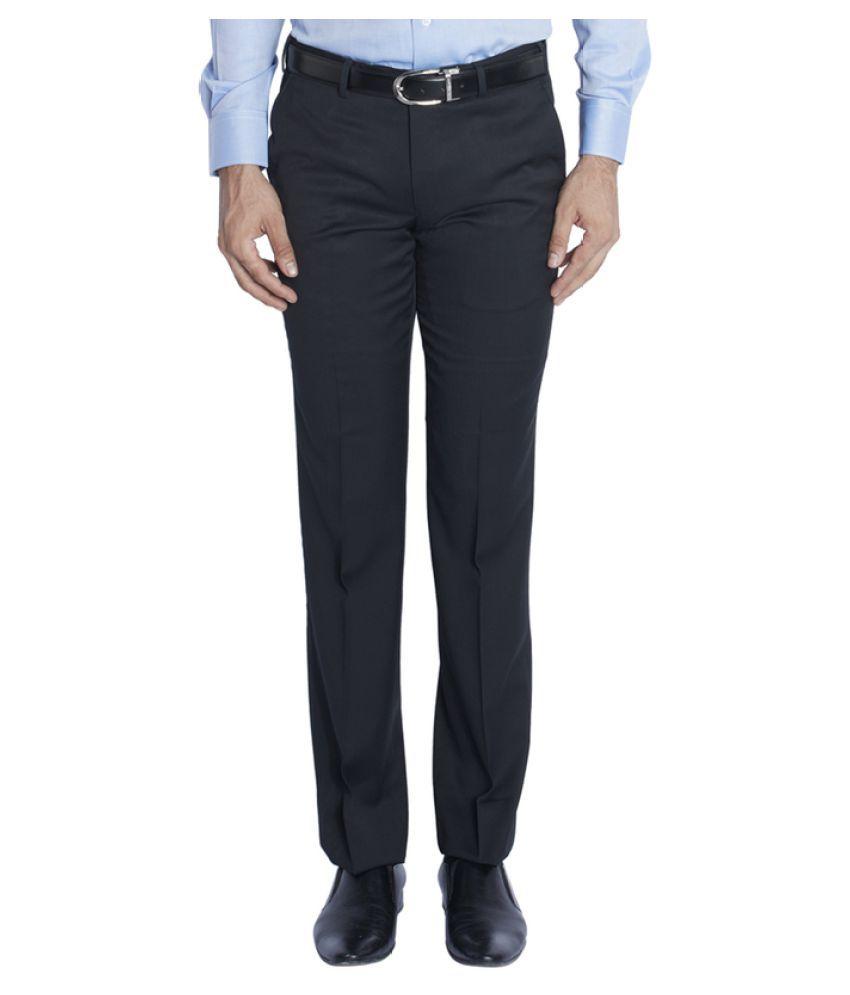 Raymond Navy Blue Regular Flat Trouser