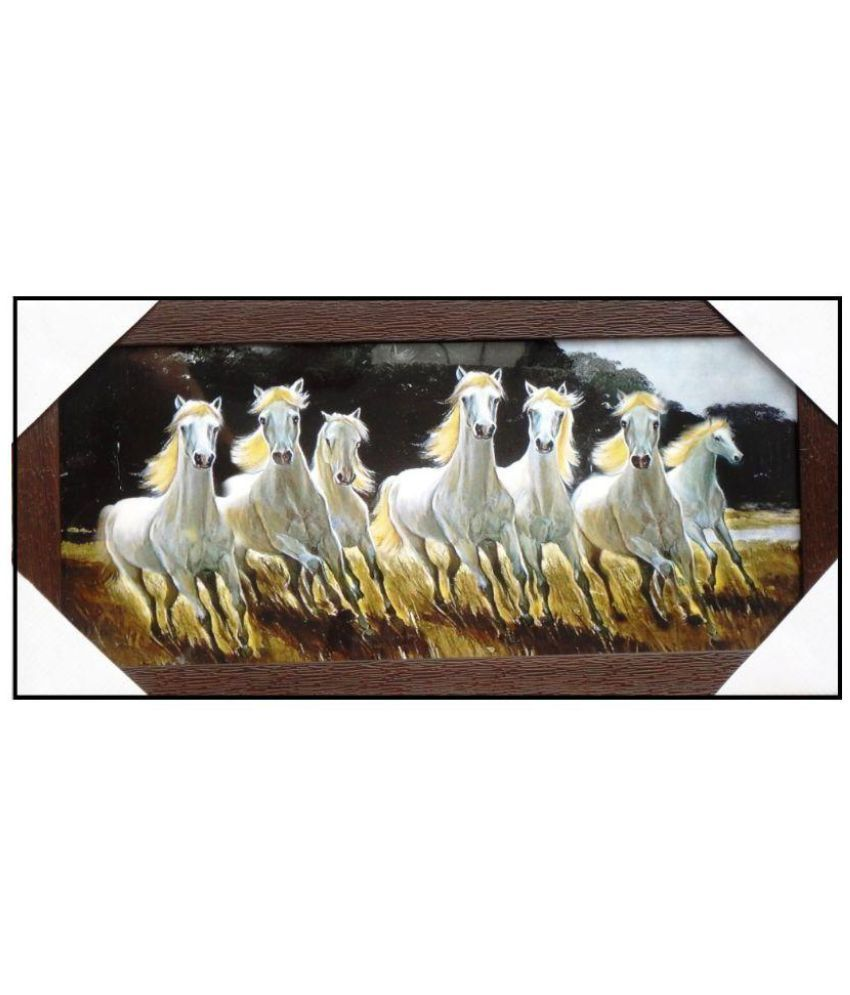 Amazing Collections Seven Horses Acrylic Art Prints With Frame Single Piece