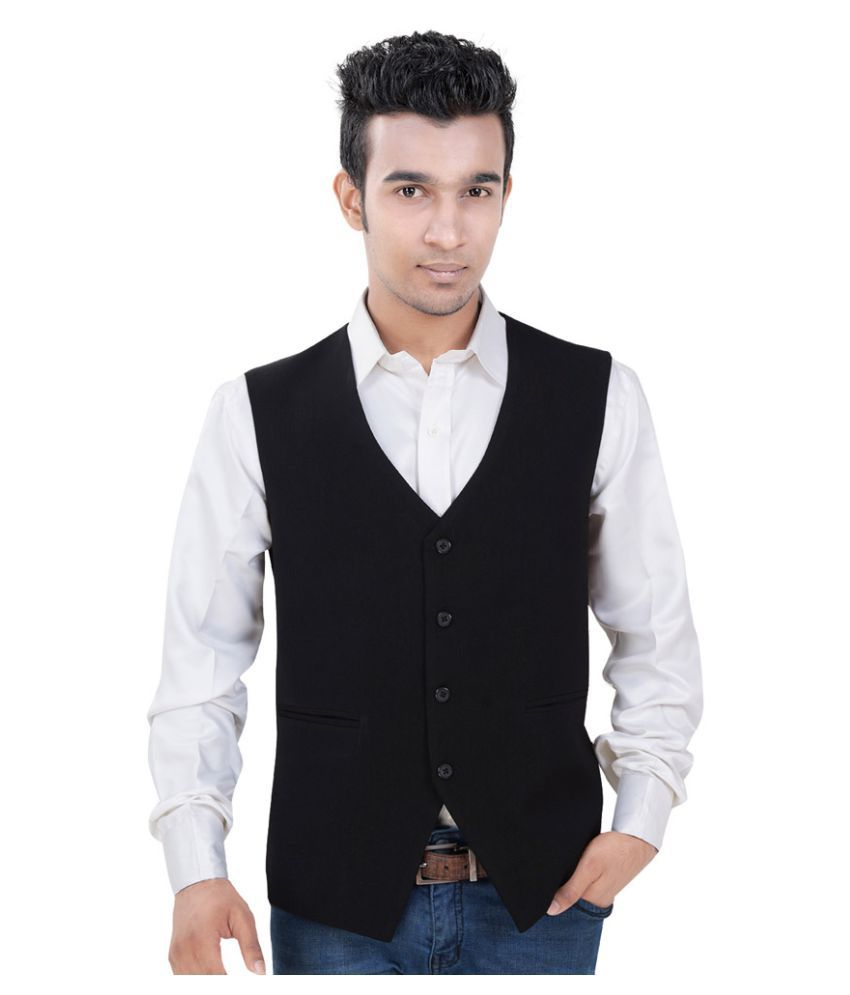 Vastra Innovation Black Solid Formal Waistcoats