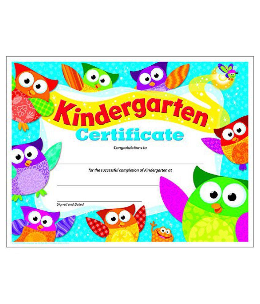 Kindergarten Certificate Owl Stars Preschoolkindergarten