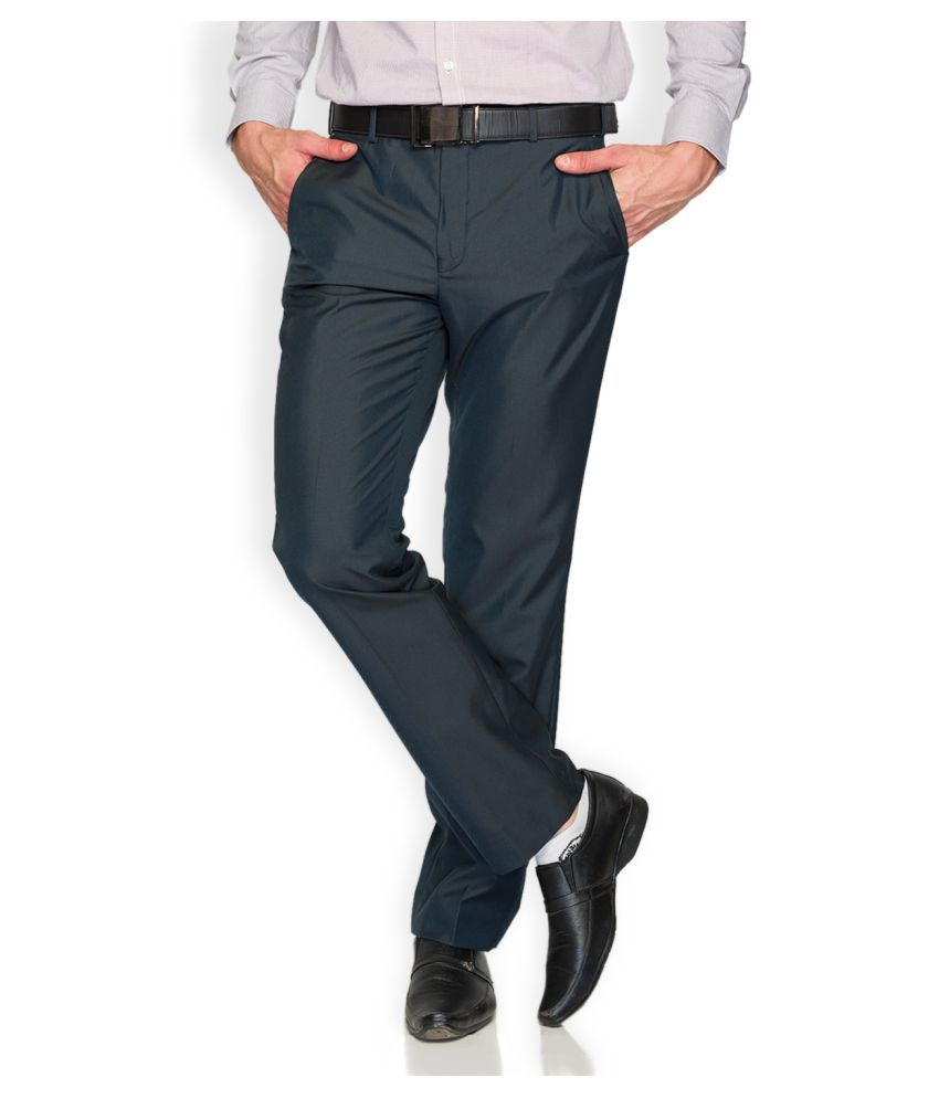 Park Avenue Blue Regular Flat Trouser