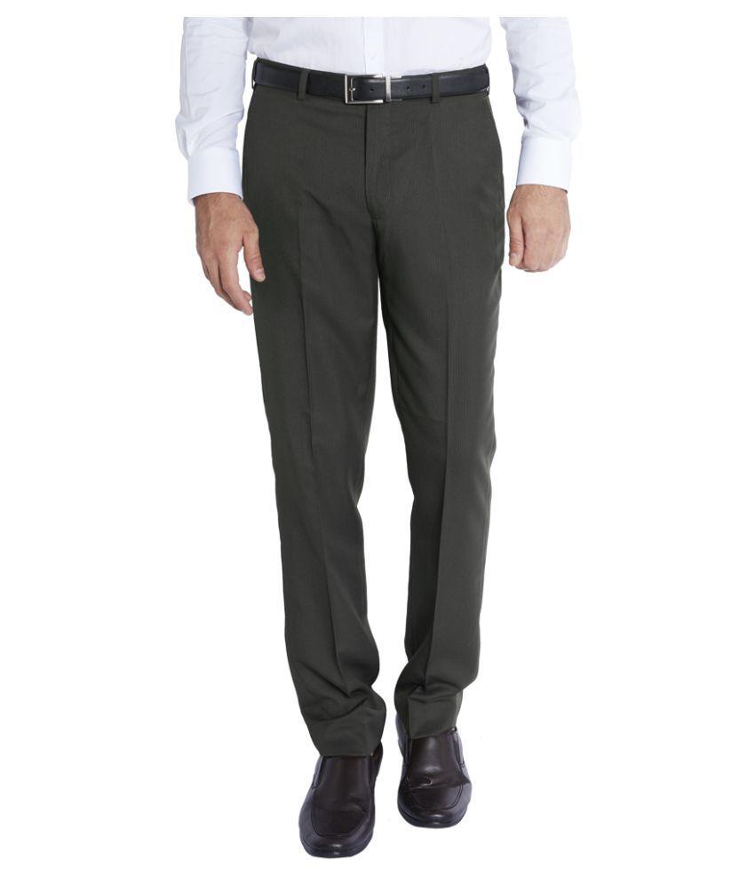Park Avenue Grey Regular Pleated Trouser