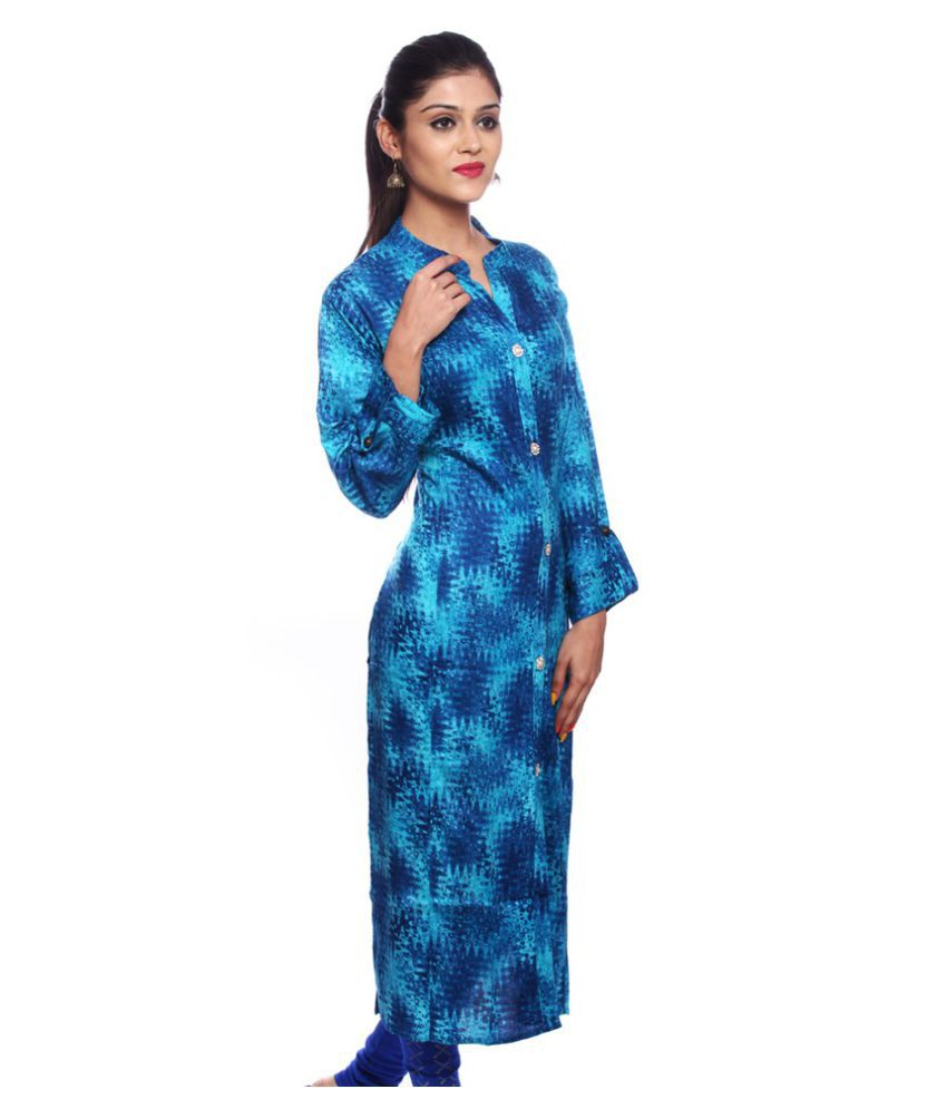 Saamarth Impex Blue Cotton Straight Kurti
