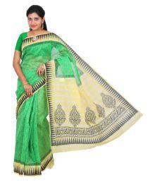 The Chennai Silks Green Chanderi Saree