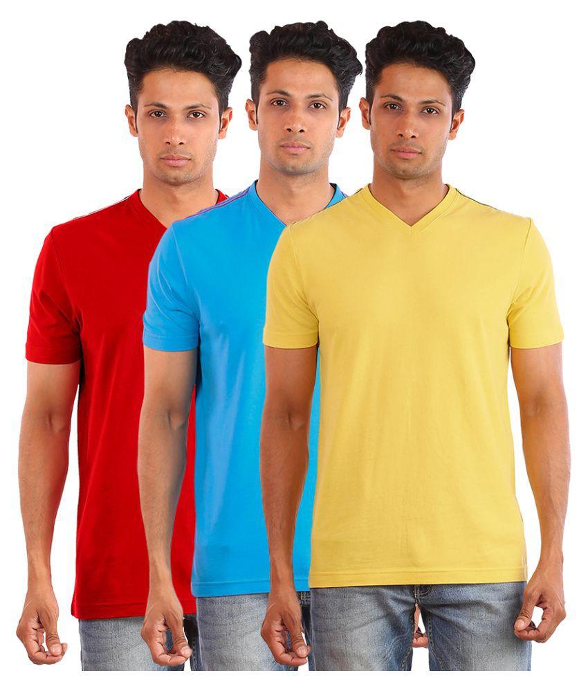 Huetrap Multi V-Neck T-Shirt Pack of 3