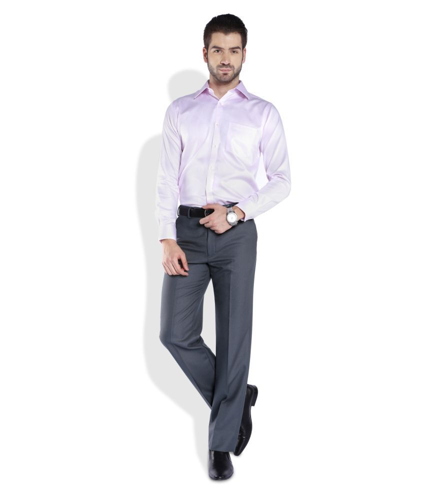 Park Avenue Grey Regular Flat Trouser