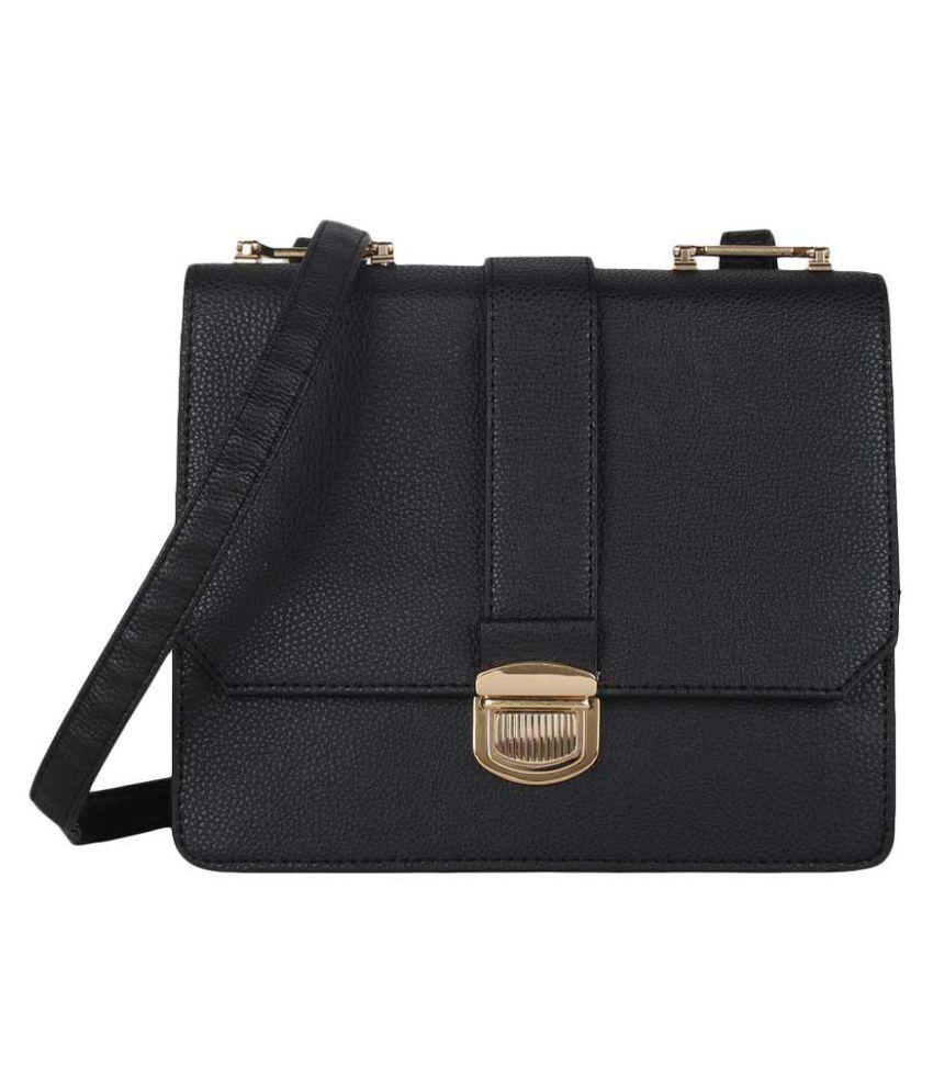 Lino Perros Black Faux Leather Sling Bag