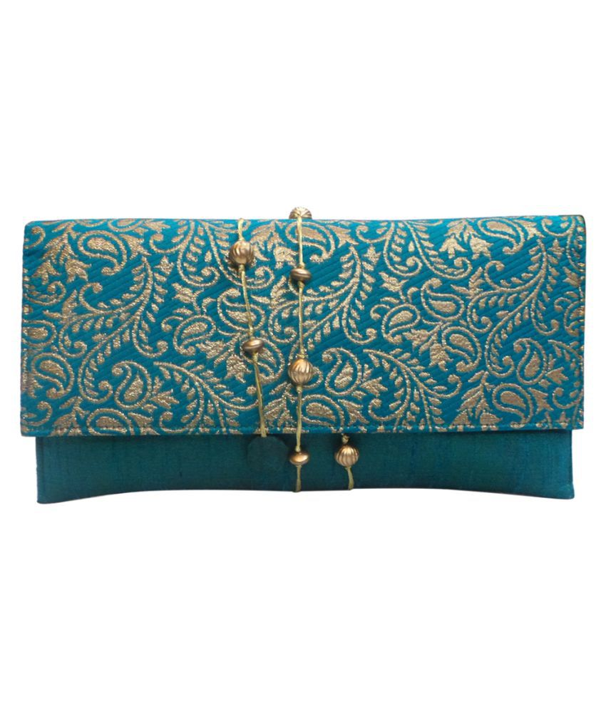 Bhamini Green Silk Box Clutch