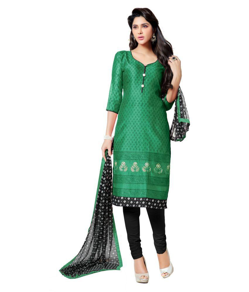Kalki Traders Green Bhagalpuri Silk Straight Unsittched Dress Material