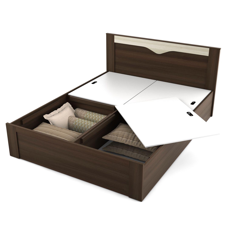 Spacewood Crescent Bed Room Set Queen Size Storage Bed Two Door