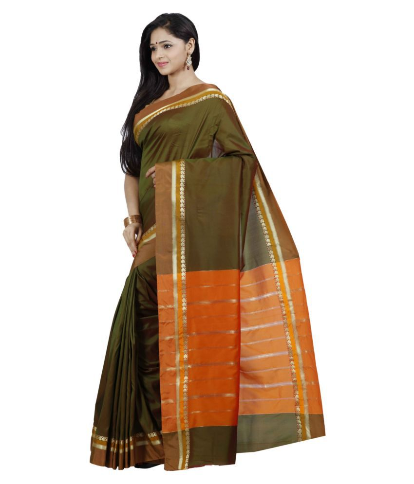 4054232007 The Chennai Silks - Paisley Border Butter Silk Saree - Buy The ...