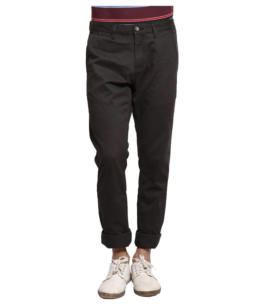 Slub Black Slim Flat Trouser