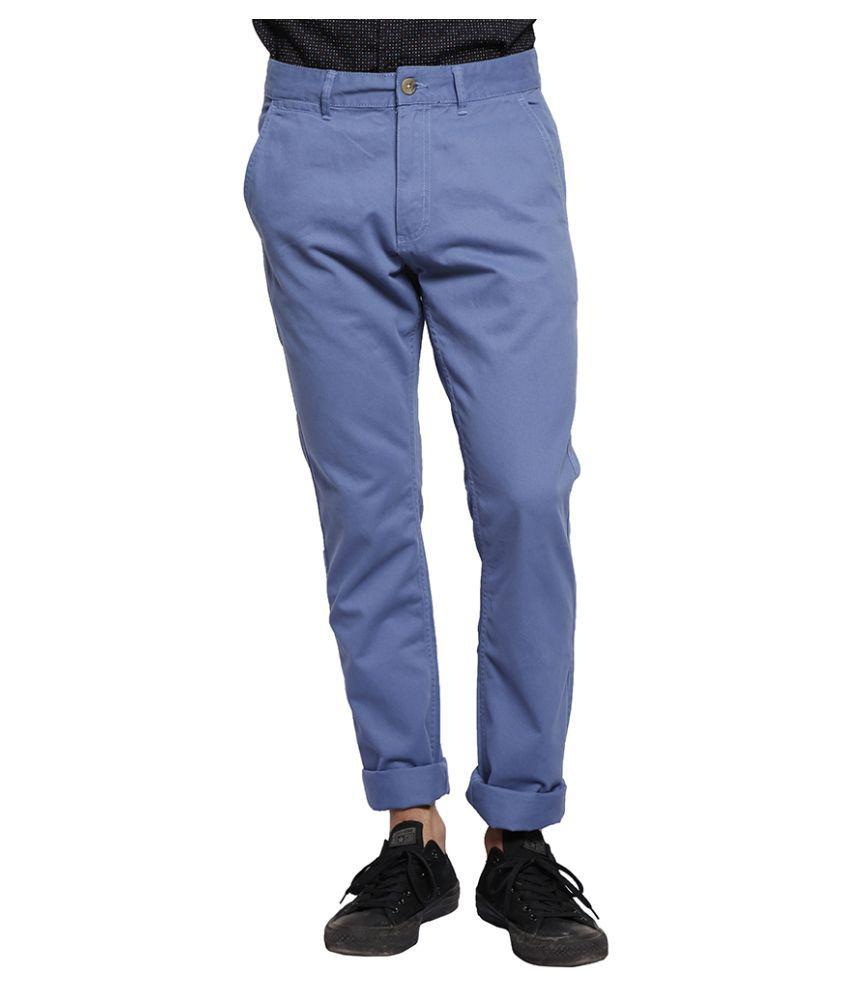 Slub Blue Slim Flat Trouser
