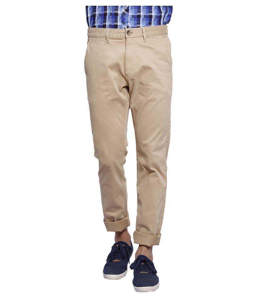 Slub Khaki Slim Flat Trouser