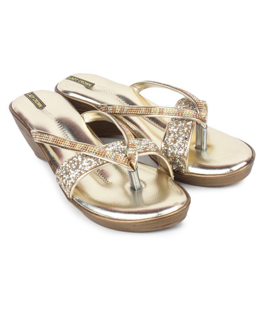 LADY CROWN Gold Wedges Heels