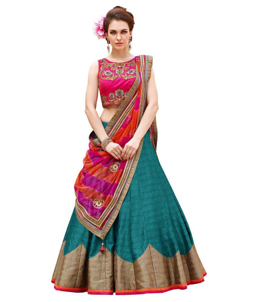 Adorn Fashion Turquoise Bangalore Silk A-line Semi Stitched Lehenga