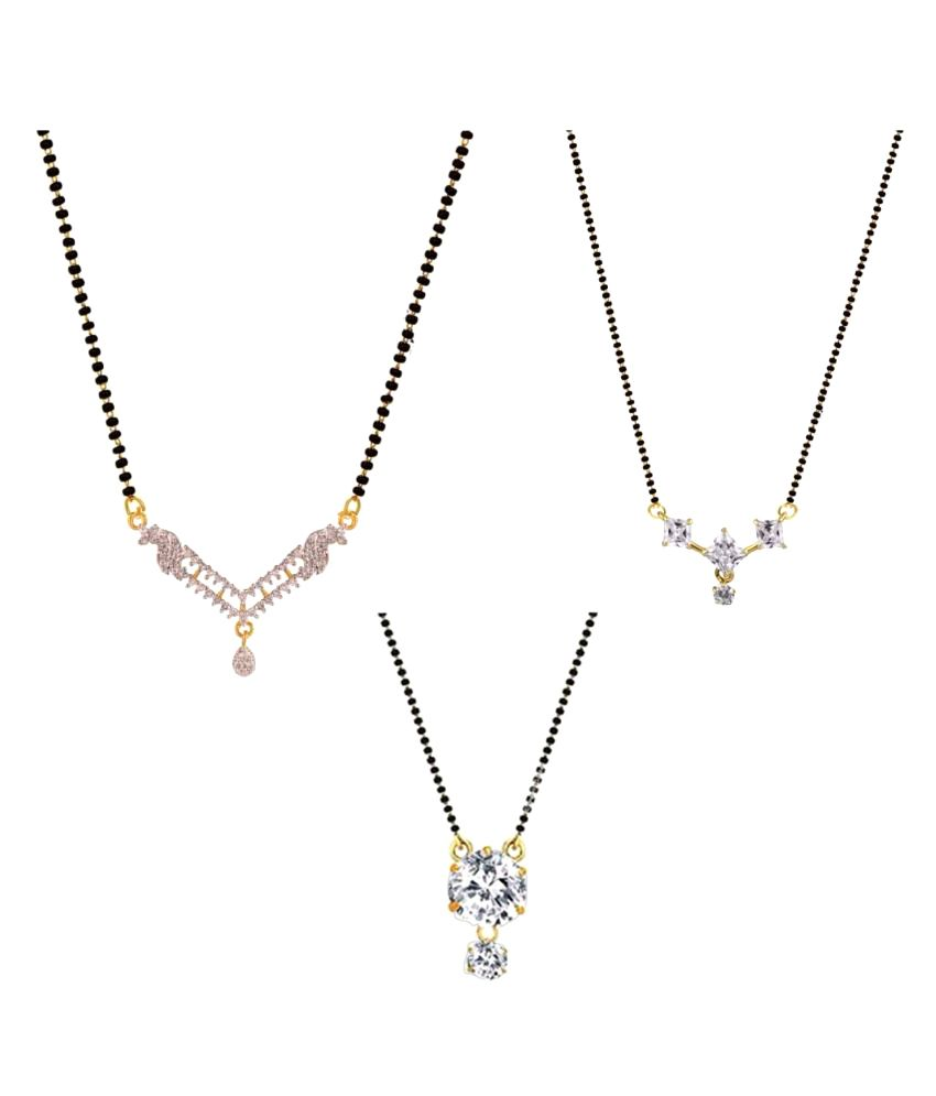 Efulgenz Multicolour Mangalsutra - Pack of 3