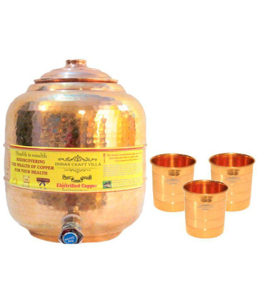 Nirvana Craft Villa Copper 1 Oil Container/Dispenser with 3 Glass