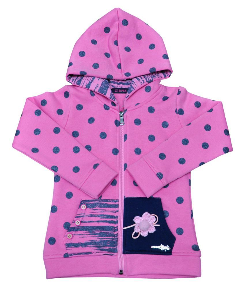 Ziama Pink Printed Fleece Sweatshirts