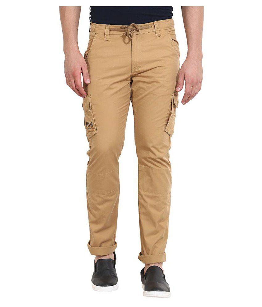 Wear Your Mind Beige Regular Flat Trouser