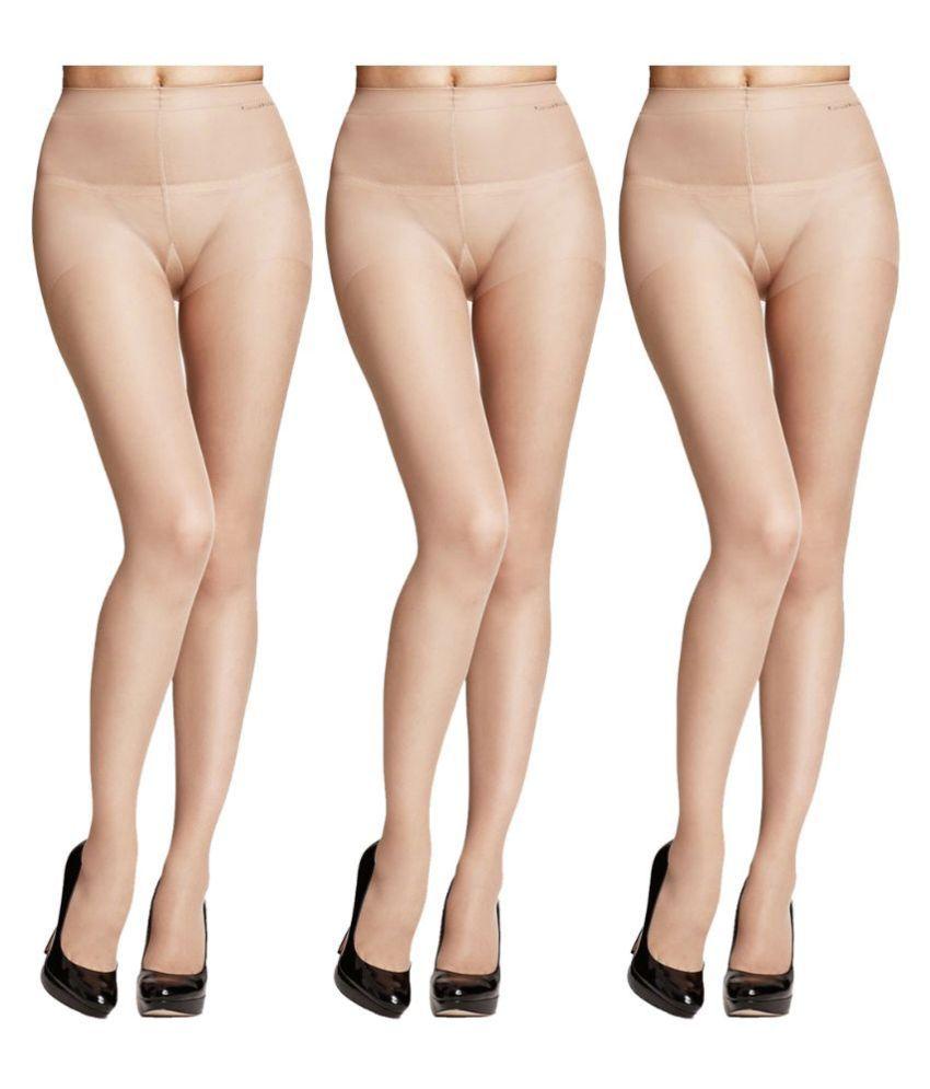 Quittance Beige Full length Stockings Pack of - 3