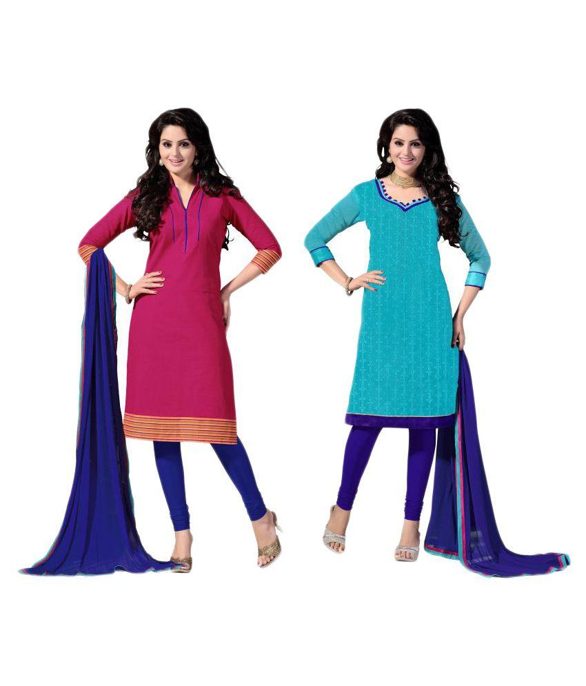 WalkNShop Multicoloured Chanderi Dress Material