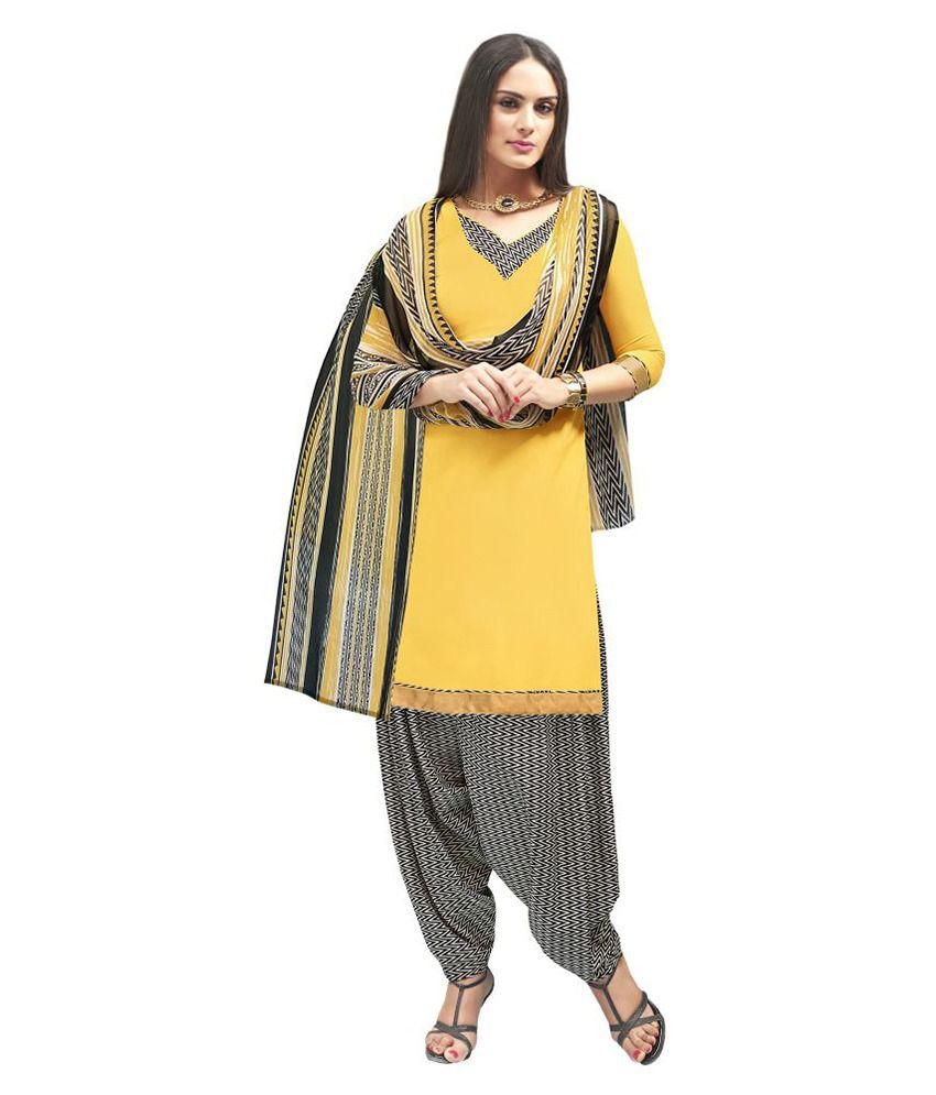 WalkNShop Yellow Crepe Dress Material