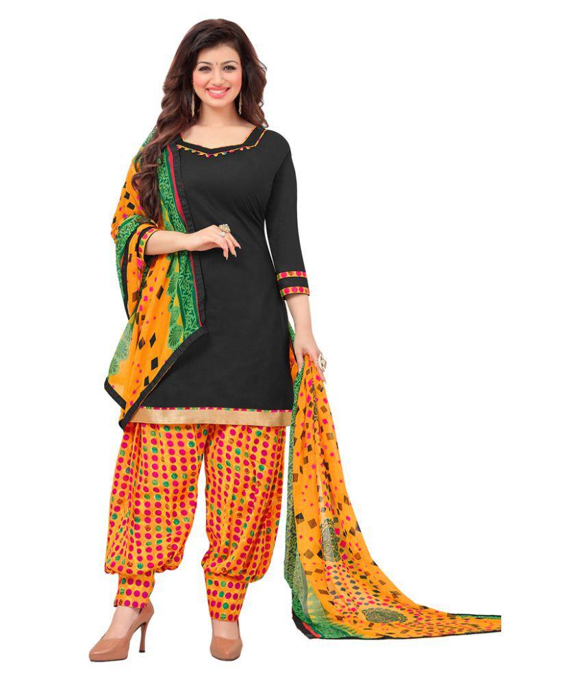 JK Apparels Black Cotton Dress Material