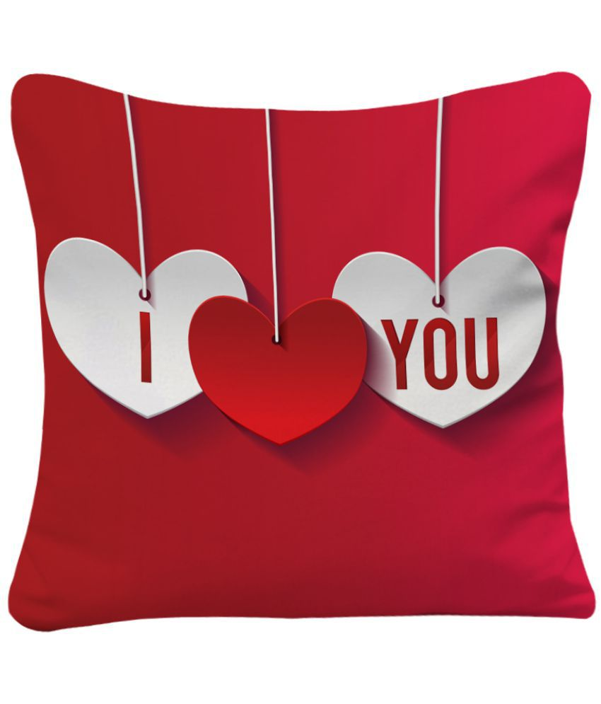 Sky Trends I Love You Printed Red Colour Cushion Cover Best Gift For Valentine Day