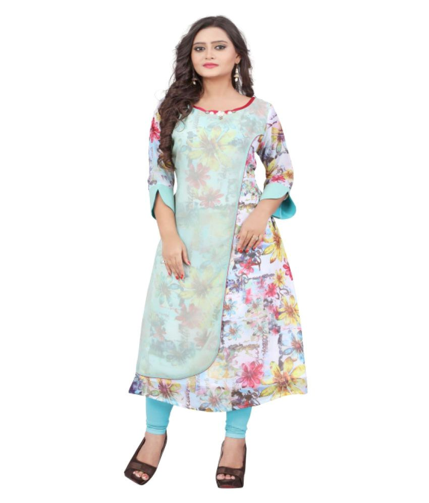 Saryu E Fabric Multicoloured Georgette A-line Kurti