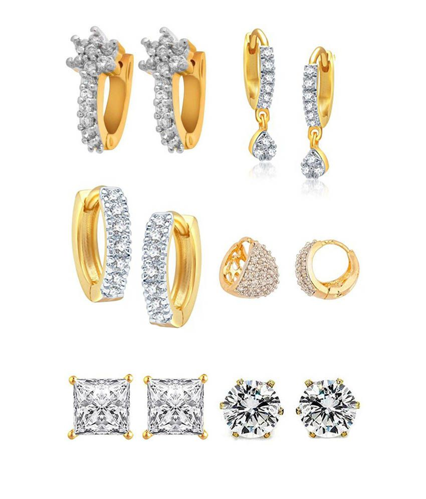 Youbella Jewellery Gold Plated American Diamond Earring For Women S Combo Of 6