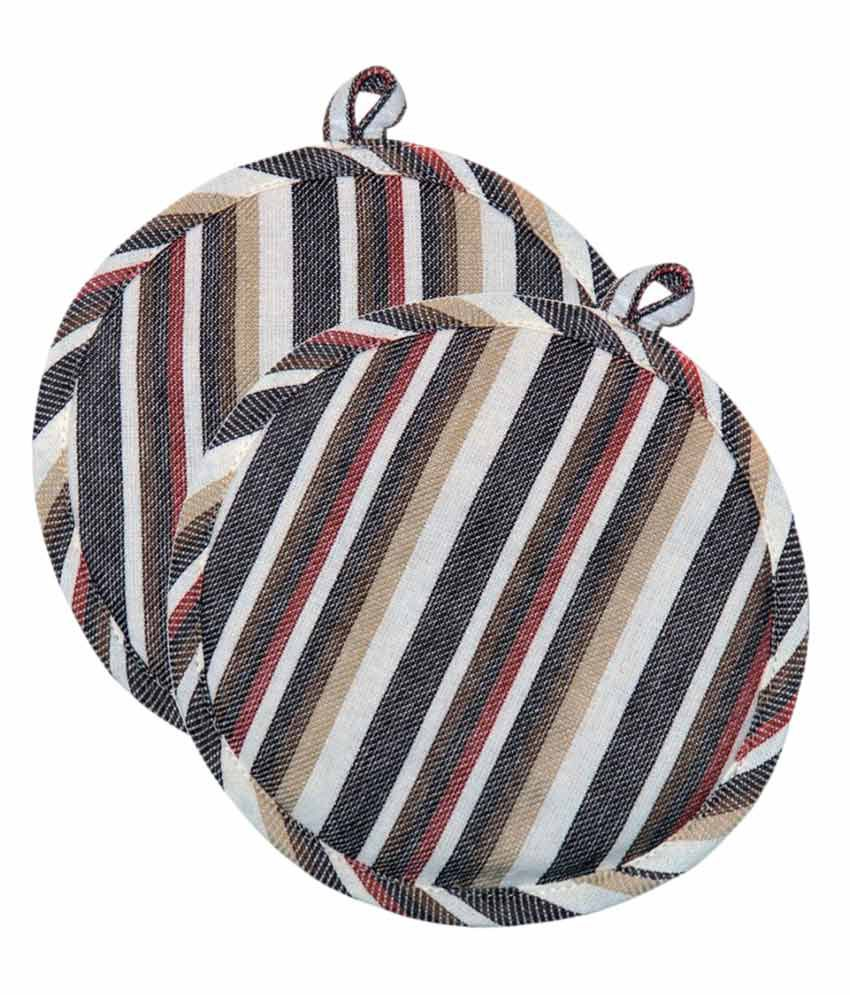 Ocean Collection Multi Color Round 100% Cotton 2 Pot Holder