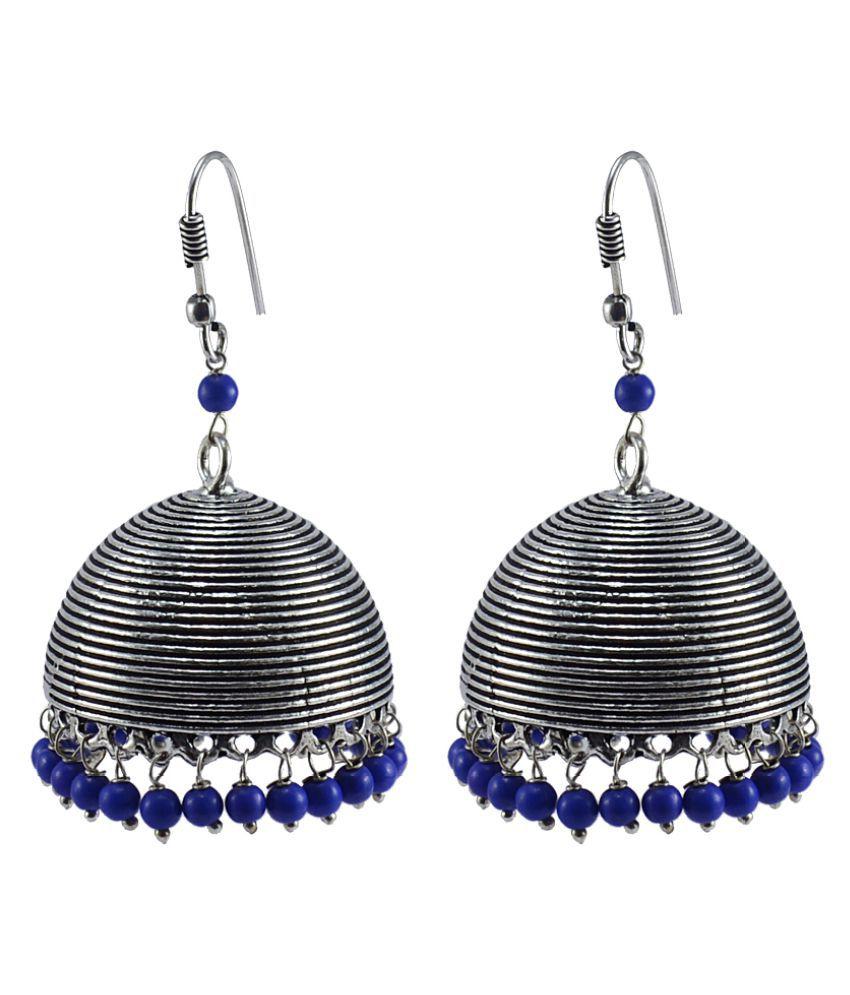 Silvesto India Blue Jhumki Earings
