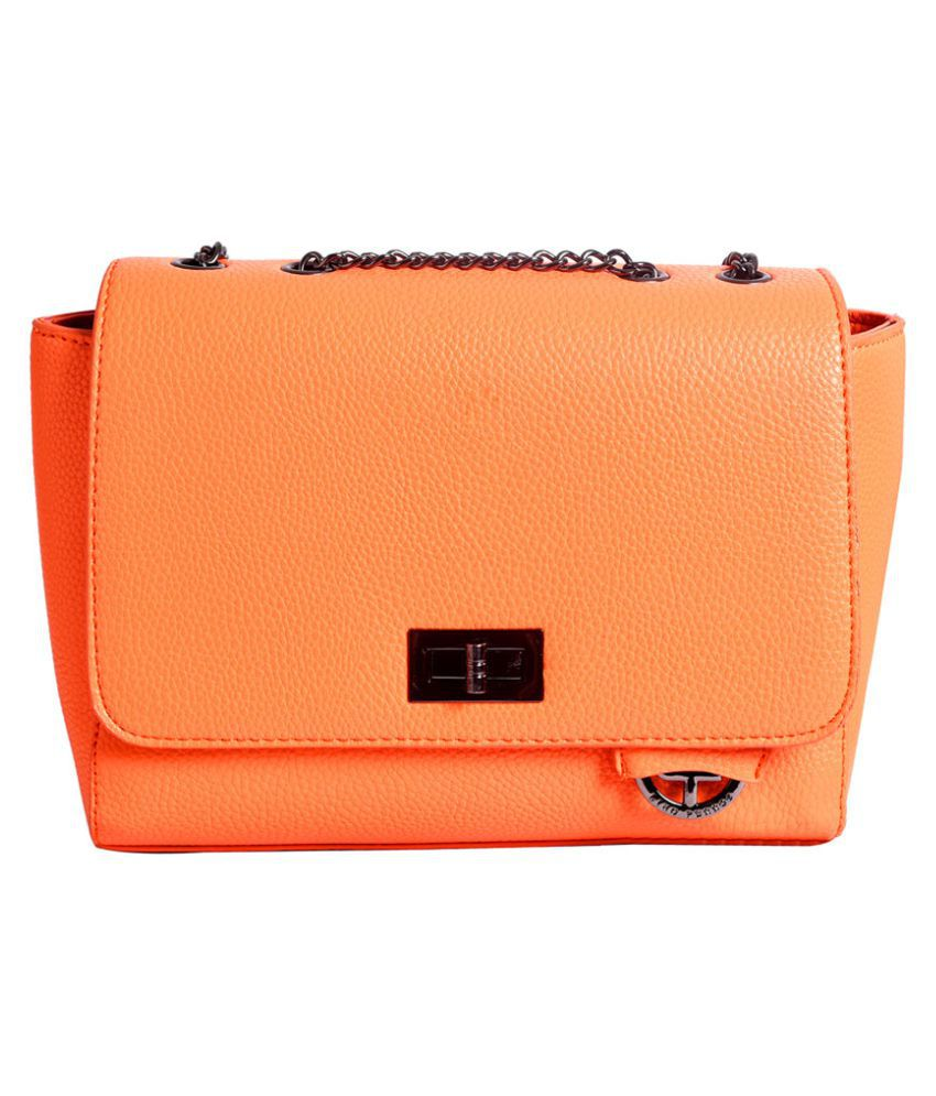 Lino Perros ORANGE Faux Leather Sling Bag