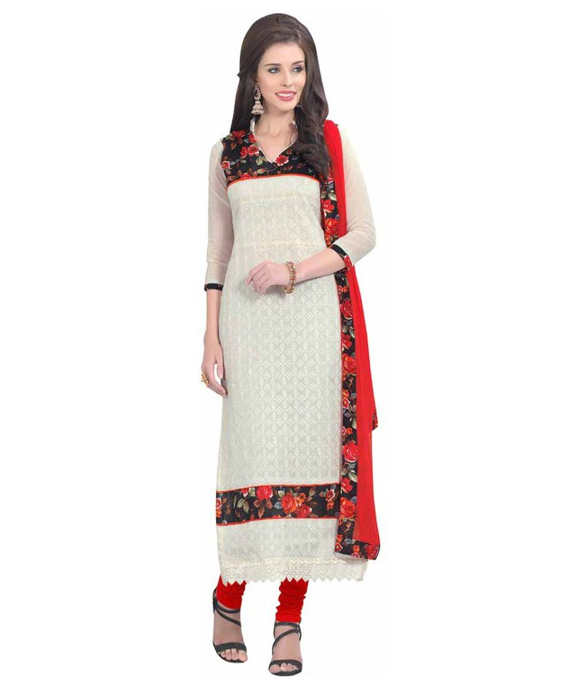 SnowFall White Bhagalpuri Silk Dress Material