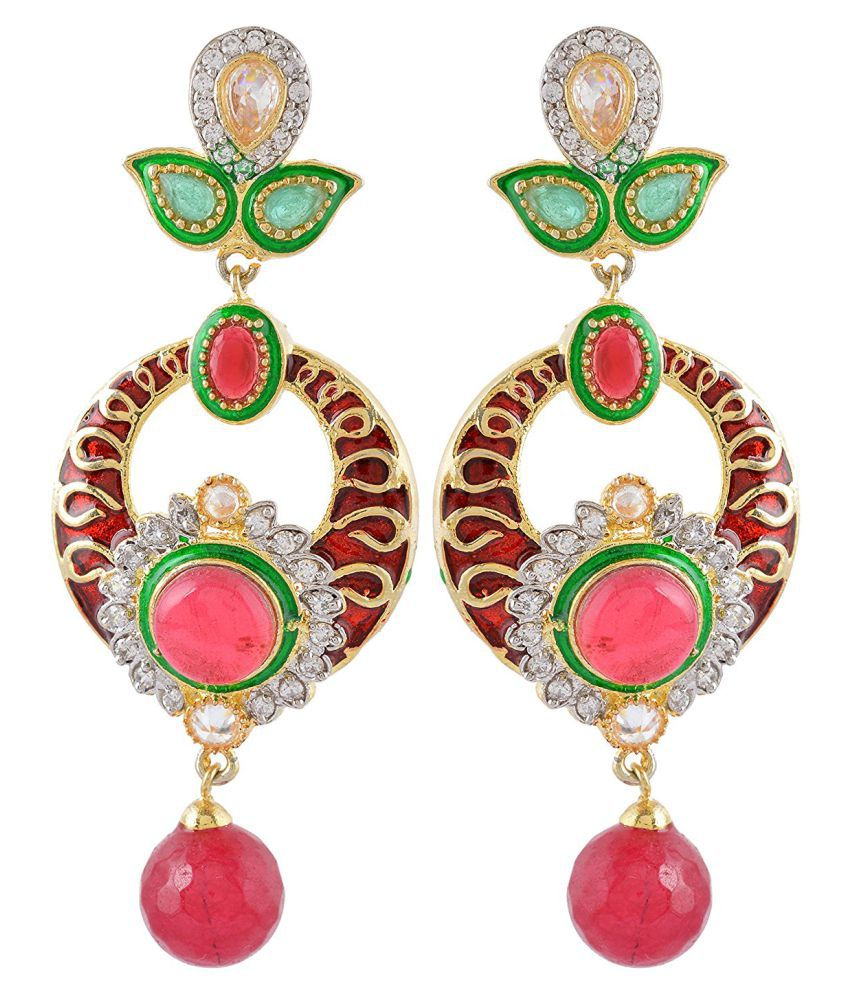 DLS Jewellery Multicolor Brass Hanging Earrings
