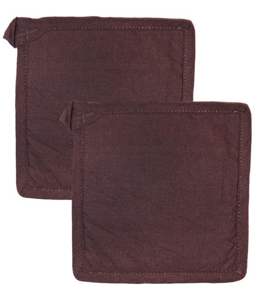 Ocean Homestore Brown Cotton Pot Holders - Pack of 2