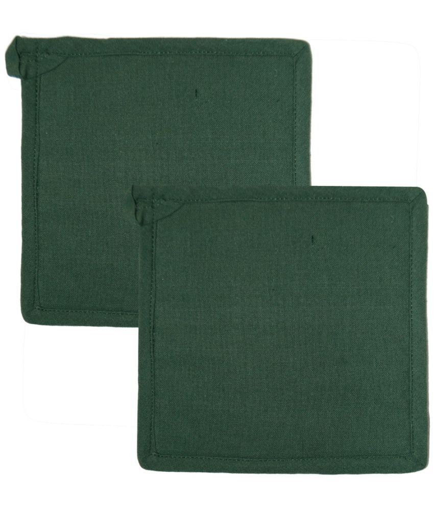 Ocean Homestore Green Cotton Pot Holders - Pack of 2