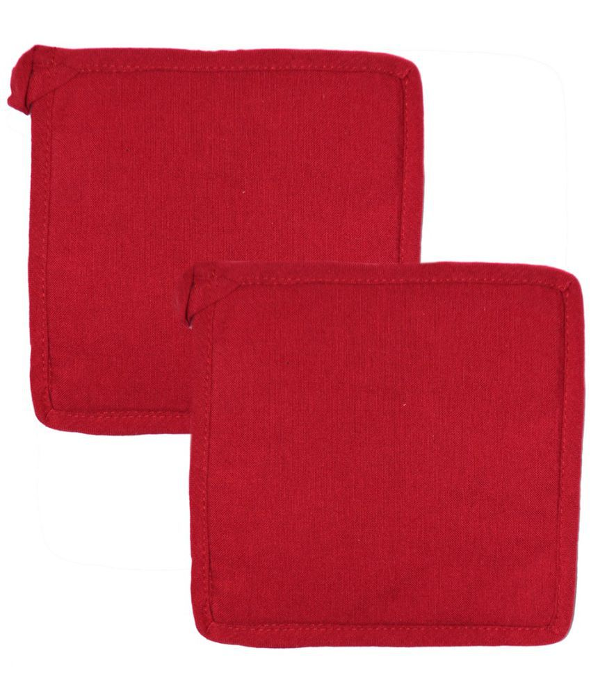 Ocean Homestore Red Cotton Pot Holder - Pack of 2