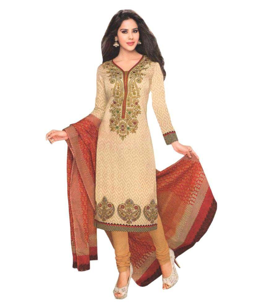 Ethnic Villa Gold Cotton Dress Material