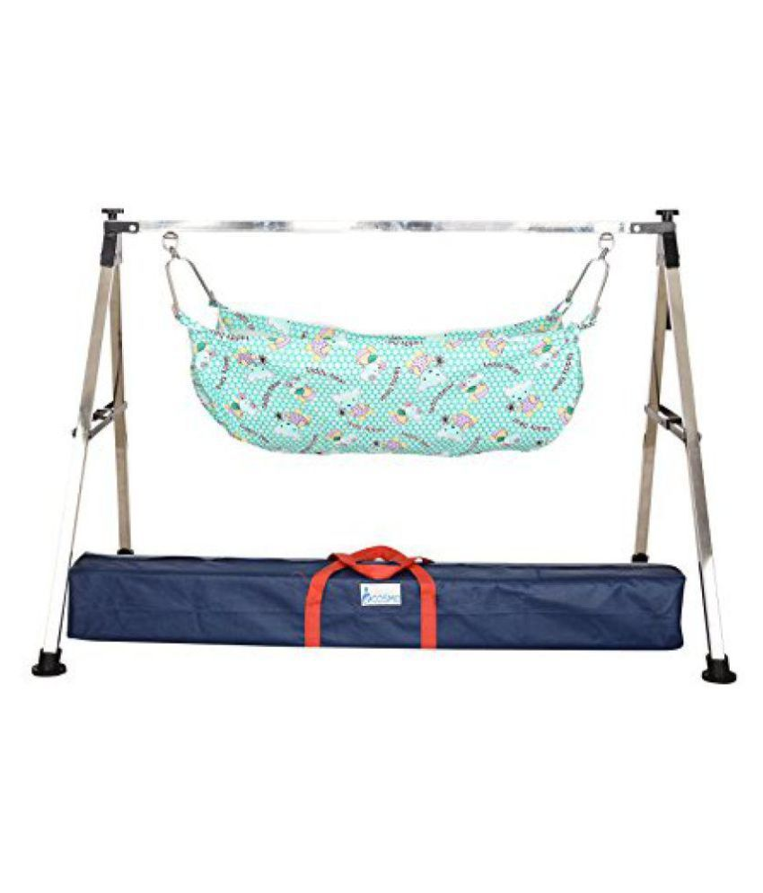 OM Retailers Blue Cotton Semi Folding Stainless Steel Baby Cradle with Hammock