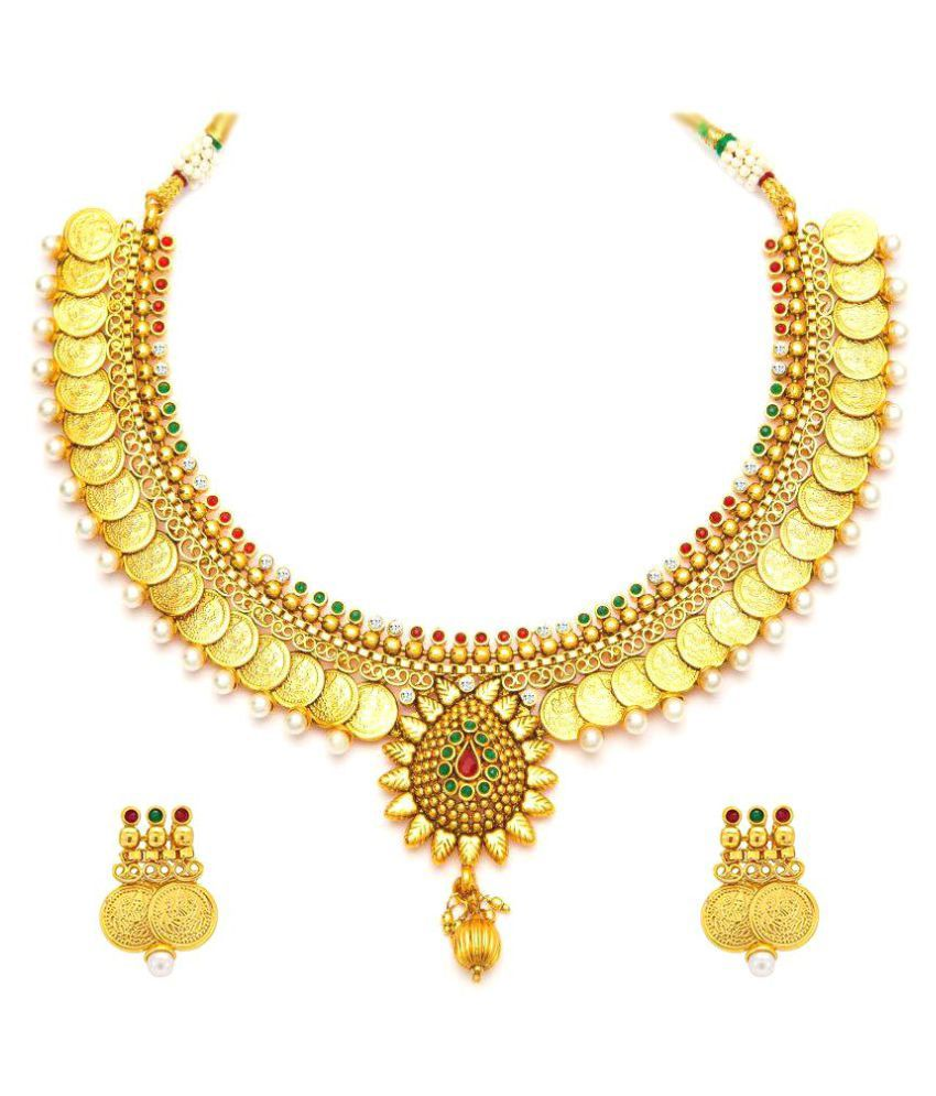 Youbella Golden Alloy Necklace Set with Earrings