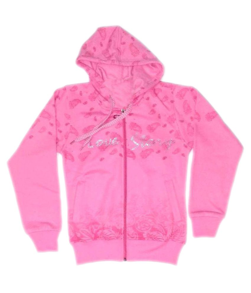 Cuddlezz Light Pink Front Open Sweatshirt