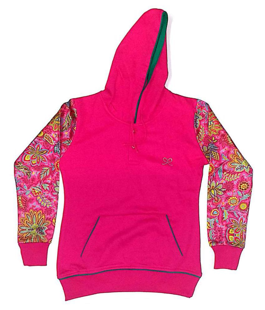 Cuddlezz Pink Front Open Girls Sweatshirts