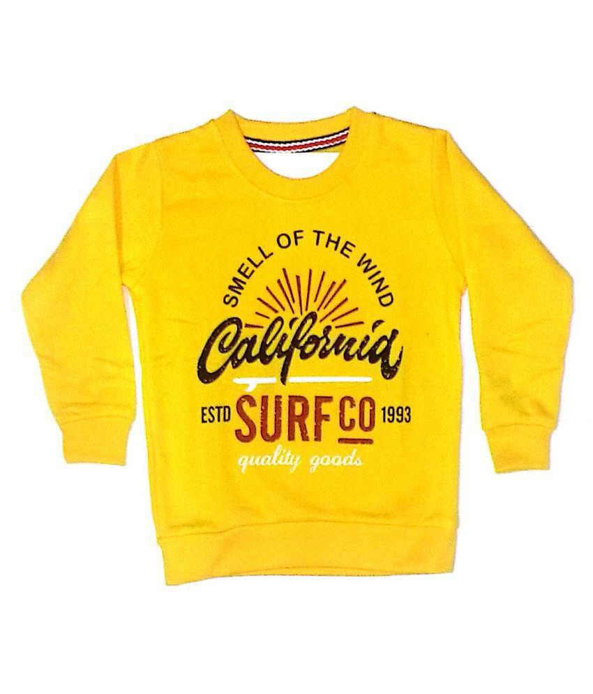 Cuddlezz Yellow Crew Neck Sweatshirts