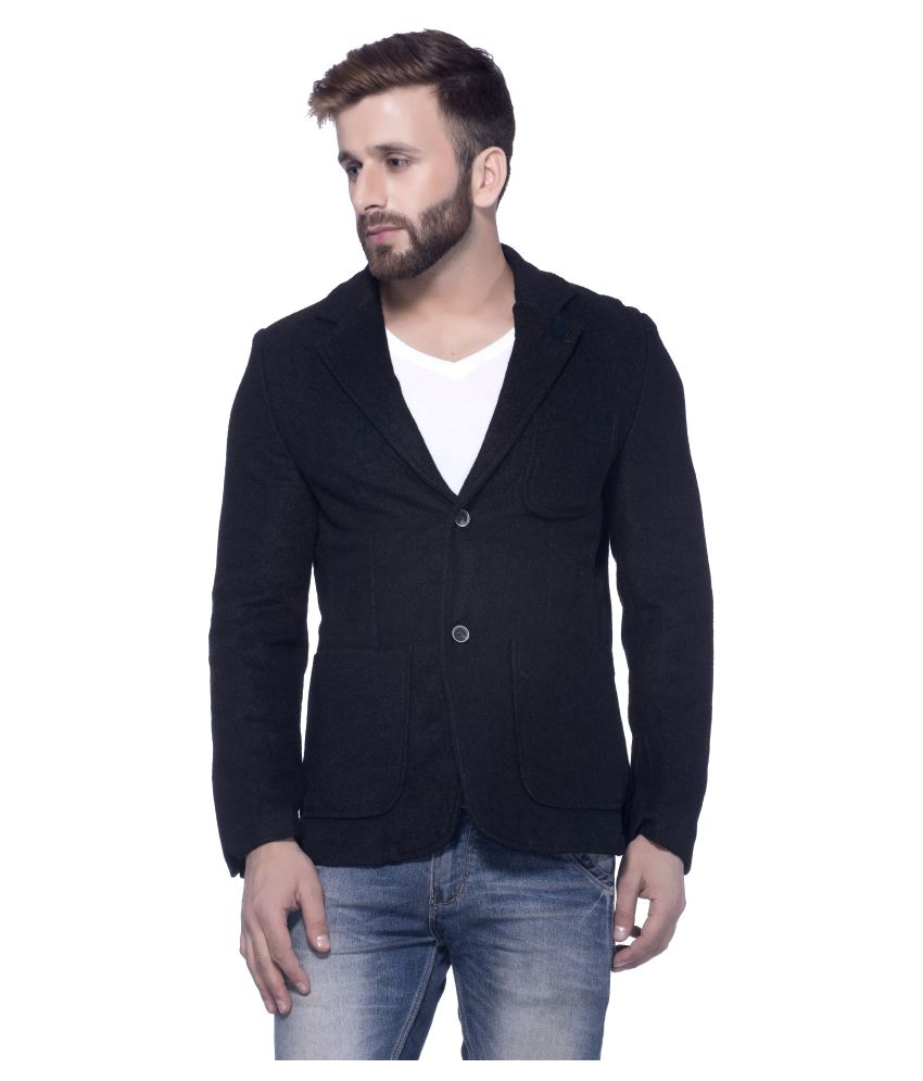 Tinted Black Solid Casual Jackets