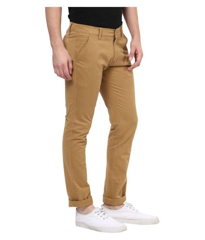 BUKKL Khaki Slim Flat Trousers