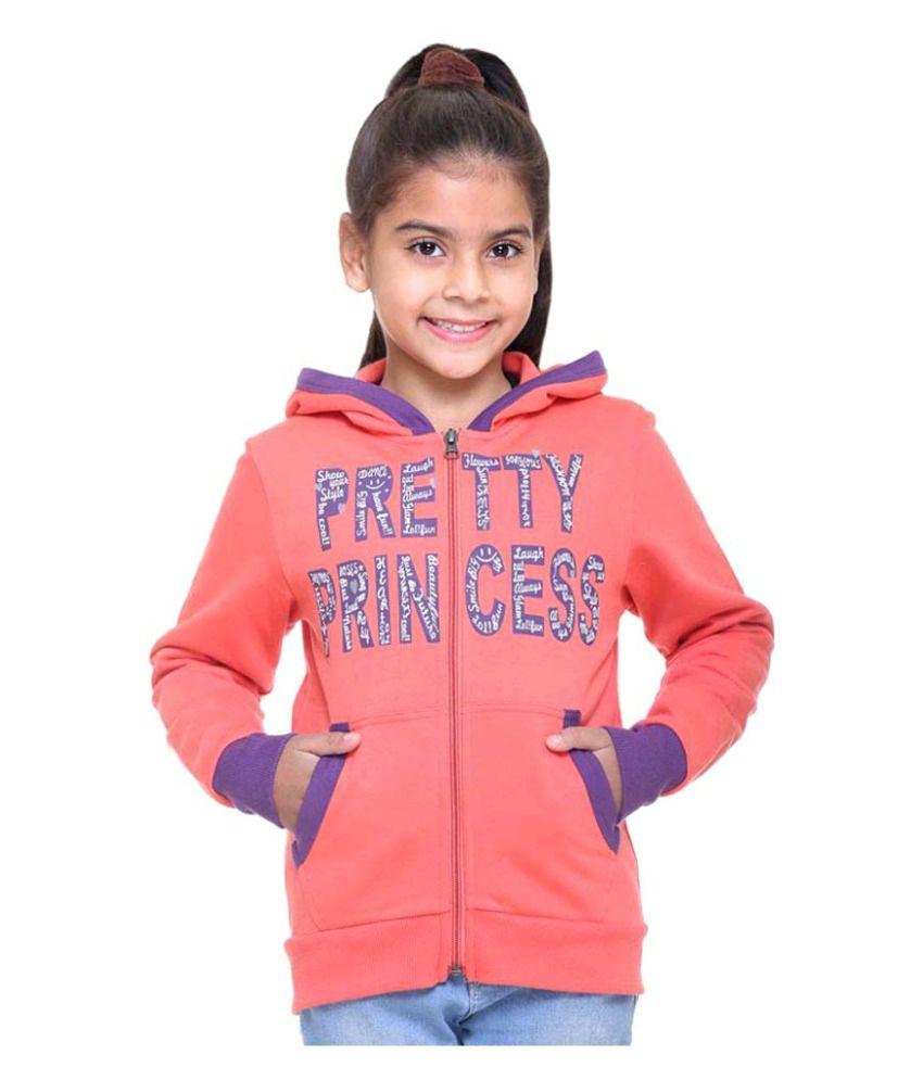 Kids-17 Peach Front Open Sweatshirt
