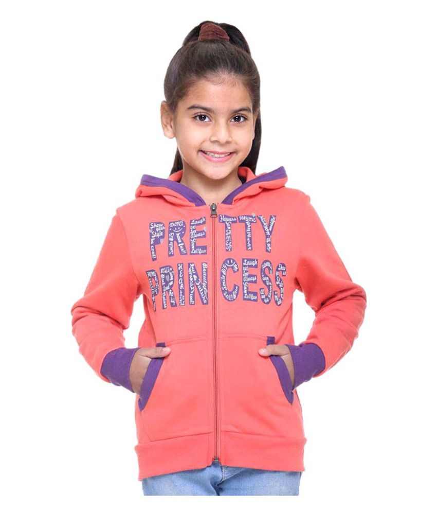 Kids-17 Peach Front Open Sweatshirt